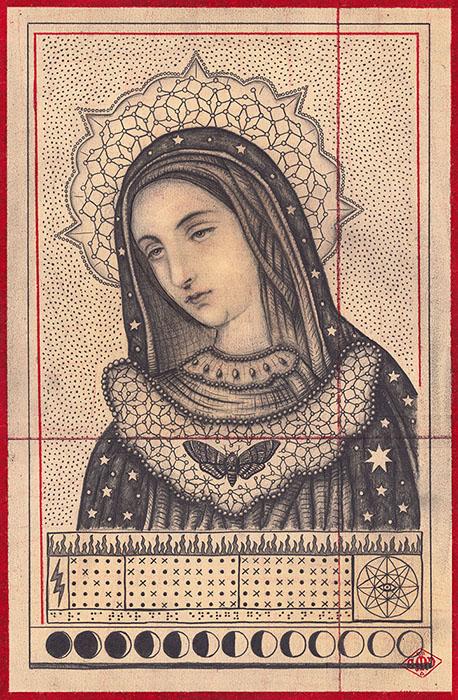 "Daniel Martin Diaz  Quantum Mary Graphite and Crimson Pencil on Paper |  11"" x 16""  •  $2500.  •"