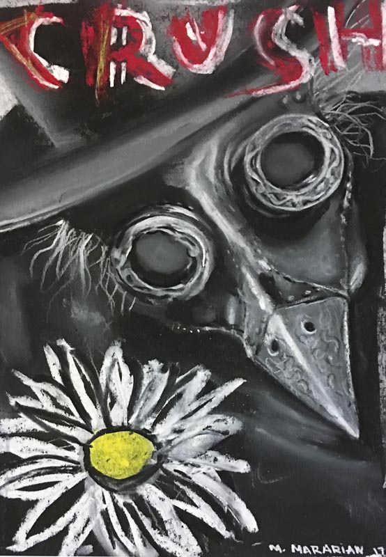 "Michael Mararian  Crush #1 Chalk on paper6"" x 9""   •  $100.    •"