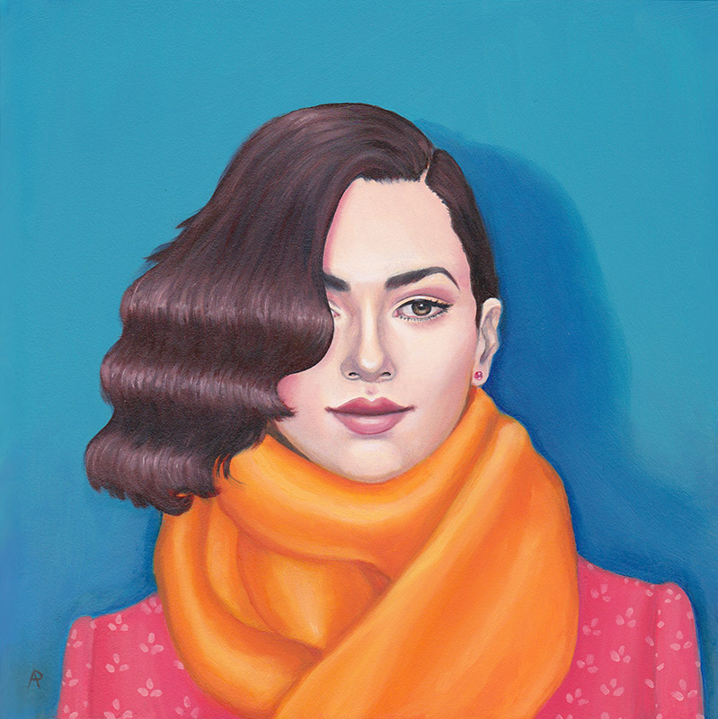 """Arabella Proffer  Woman with Scarf Oil on linen8"""" x 8""""   •  $300."""