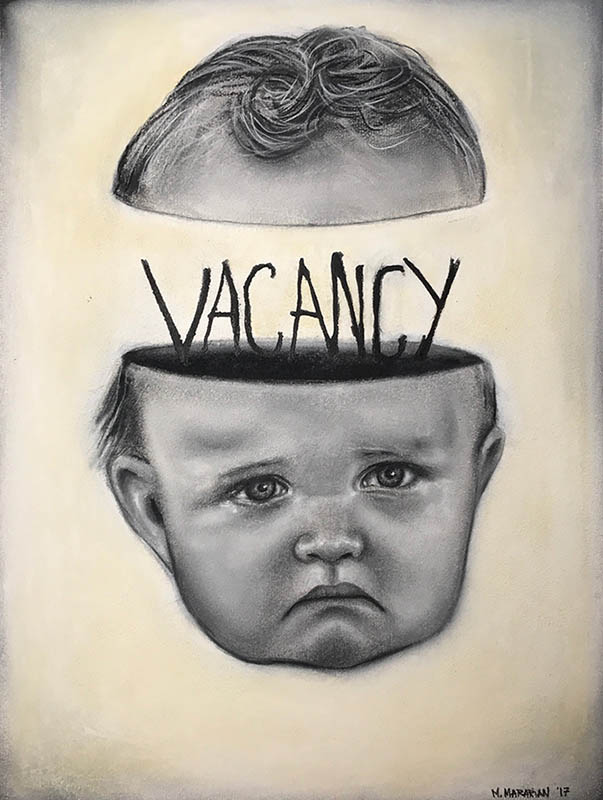 "Michael Mararian  Vacancy Ink, pencil, and chalk14"" x 16""   •  $450."