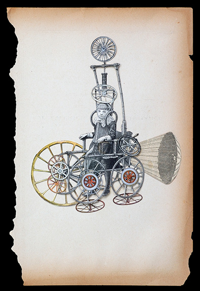 "Hope Kroll  Hot WheelsHand cut paper collage 10"" x 7""   •  $630."