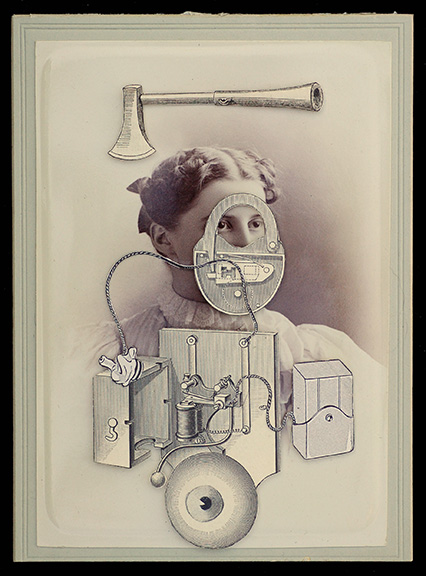 """Hope Kroll  In Case of EmergencyHand cut paper collage, vintage photo 6"""" x 4""""  •  $540."""