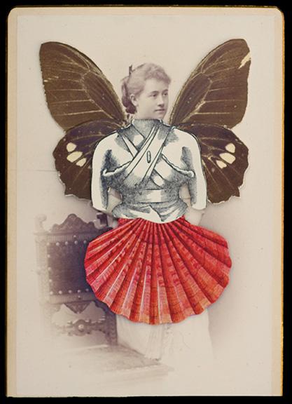 "Hope Kroll  WilhelminePaper, vintage photo, butterfly wings 6"" x 4.5""  •  $540."