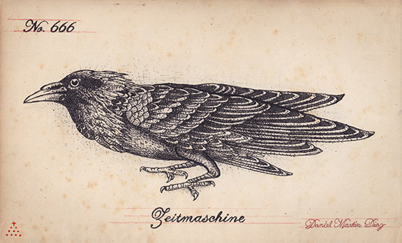 """Daniel Martin Diaz  RavenPen and ink on end paper from the late 1800s9.5"""" x 5.75""""  •  $800."""