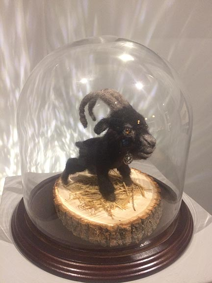 Michael Mararian  Little Black Philip Felt and glass eyes with glass dome and wood base$250.