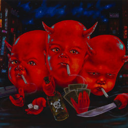 Three Red Figures Painting by Sean Madden at Revolution Gallery