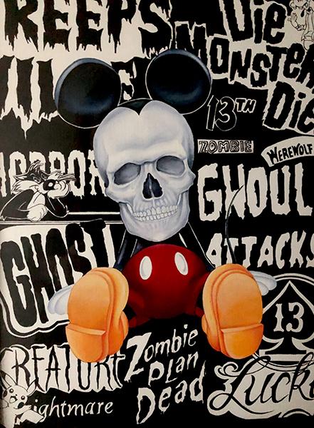"Kerri HobbaSkull MickeyAcrylic / Ink16.5"" x 11.5"" (unframed)  18"" x 13"" (framed) •  $400."