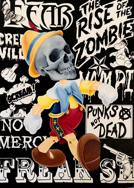 "Kerri HobbaSkull PinocchioAcrylic / Ink16.5"" x 11.5"" (unframed)  18"" x 13"" (framed) •  $450."