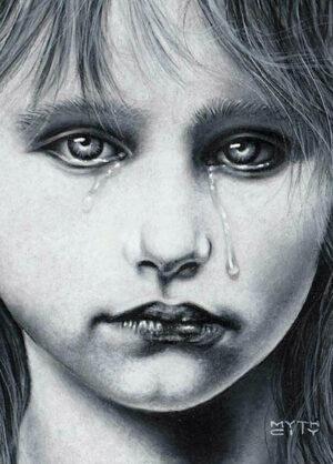 "Daniel Mythcity  Sorrow 8: IrisDry on dry watercolor pencils on panel5"" x 7""  •  $150.  •"