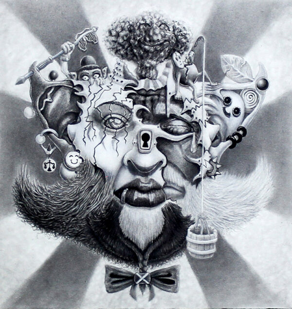 pop surrealist drawing of a face with things comprising it