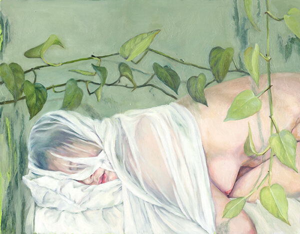 small oil painting of a woman laying in bed with a veil over her head