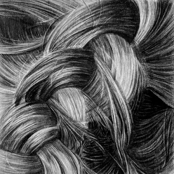 graphite drawing of a close up of hair