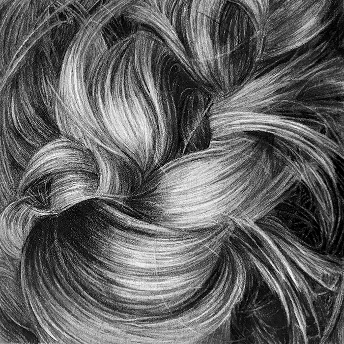 graphite drawing of a close up of hair by Triica Butski
